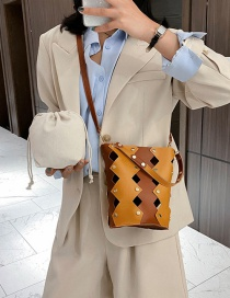 Fashion Yellow Openwork Rivet Stitching Contrast Color Shoulder Crossbody Bag