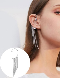 Fashion Left Only Long Tassel Alloy Earrings With Diamonds