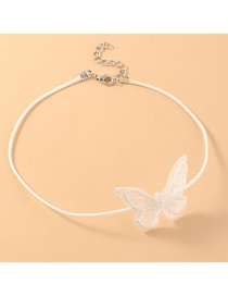 Fashion White Lace Butterfly Leather Rope Necklace