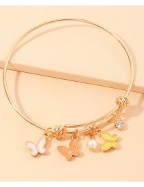 Fashion Butterfly Dripping Butterfly Small Daisy Diamond Circle Bracelet