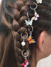 Fashion Color Geometric Butterfly Pearl Drop Oil Alloy Hair Accessories