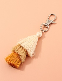 Fashion Khaki Multilayer Wire Rope Tassel Contrast Color Alloy Keychain