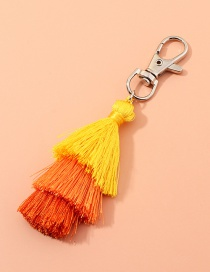Fashion Yellow Multilayer Wire Rope Tassel Contrast Color Alloy Keychain