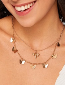 Fashion Gold Color Bee Butterfly Alloy Multilayer Necklace