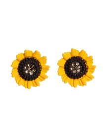 Fashion Yellow Sunflower Alloy Diamond Earrings