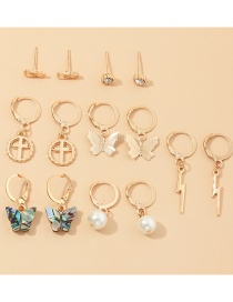 Fashion Gold Color Lightning Cross Abalone Shell Butterfly Pearl Earring Set