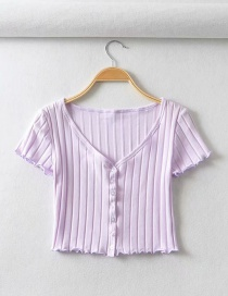 Fashion Purple Single-breasted Chevron Slim V-neck T-shirt