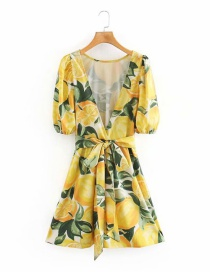 Fashion Yellow Big Open Back Lace-up Floral Print Dress