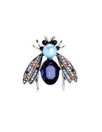 Fashion Blue Jewel Anti-glare Pearl Insect Brooch