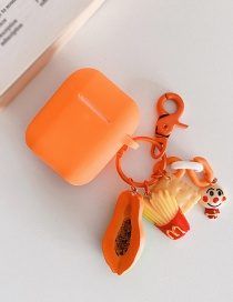 Fashion Papaya + Orange Headphone Case Durian Avocado Wireless Bluetooth Headset Silicone Storage Box
