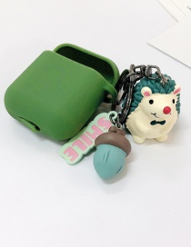 Fashion Green + Green Earphone Cover (2nd Generation) Hedgehog Apple Wireless Bluetooth Headset Silicone Case