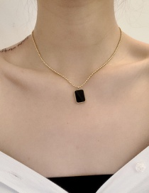 Fashion Black Titanium Steel Color-retaining Square Thin Chain Necklace