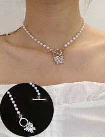 Fashion Silver Rhinestone Pearl Butterfly Hollow Ot Buckle Necklace