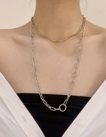 Fashion Silver Stainless Steel Double-layer Buckle Necklace