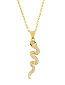Fashion Green Copper-set Zircon Serpentine Necklace