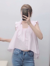 Fashion Pink Poplin Pleated Shirt Top