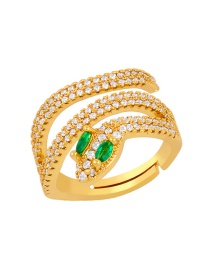 Fashion Green Copper Inlaid Zircon Openwork Ring