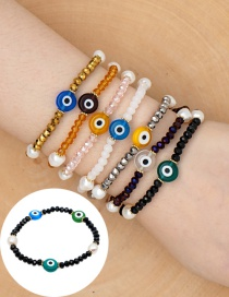 Fashion Black Natural Freshwater Pearl Glazed Eye Bracelet