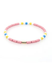 Fashion Pink Enamel Hand-made Zinc Alloy Paint Color Retention Bracelet