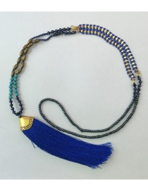 Fashion Royal Blue Tassel Crystal Hand-beaded Woven Rice Bead Necklace