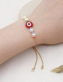 Fashion Red Natural Freshwater Pearl Glazed Eye Bracelet