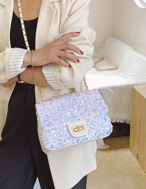 Fashion White Shoulder Crossbody Bag With Chain Sequin Lock