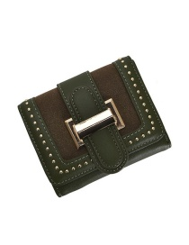 Fashion Green Studded Two-fold Buckle Multi-card Matte Wallet