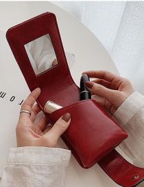 Fashion Red Lipstick Bag With Makeup Mirror Snap