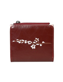 Fashion Red Flower Embroidery 2 Fold Multi-function Wallet