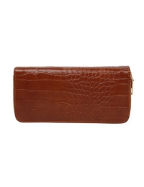 Fashion Brown Long 2-fold Stone Pattern Multi-function Wallet