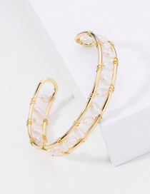 Fashion Golden Natural Pearl Winding Copper Wire Hollow Alloy Bracelet