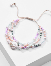 Fashion Color Natural Freshwater Pearl Drawstring Rice Beads Adjustable Multi-layer Bracelet