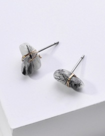 Fashion Black Natural Stone Winding Copper Wire Alloy Earrings