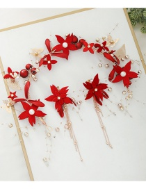 Fashion Red Flower Diamond Butterfly Alloy Round Bead Resin Hairband Earring Set