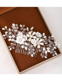 Fashion Silver Flower And Diamond Resin Comb