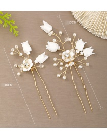 Fashion White Soft Ceramic Flower And Pearl Hair Comb