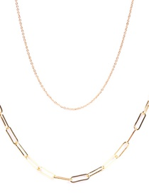 Fashion Golden Thick Chain Stainless Steel Hollow Double Necklace