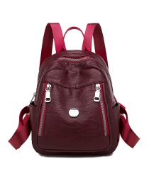 Fashion Red Metal Ring Solid Color Multifunctional Backpack