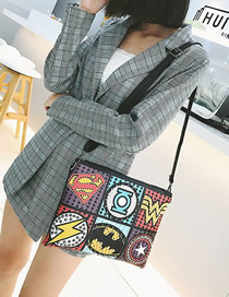 Fashion Black Studded Superman Lightning Contrast Shoulder Crossbody Bag