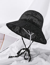 Fashion Black Sequin Lace Sunscreen Fisherman Hat