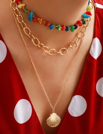 Fashion Golden Crushed Stone Alloy Chain Shell Multi-layer Necklace