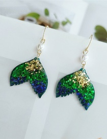 Fashion Green Fish Shape Decorated Diamond Earrings