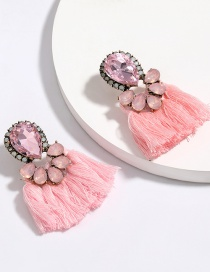 Fashion Pink Multi-layer Drop-shaped Diamond Tassel Earrings