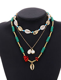 Fashion Green Alloy Shell Resin Rice Bead Multi-layer Necklace