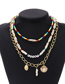 Fashion Color Alloy Chain Pearl Resin Rice Bead Shell Multilayer Necklace