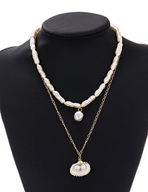 Fashion Beige Alloy Pearl Shell Double Necklace