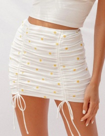Fashion White Embroidered Daisy Tie Skirt