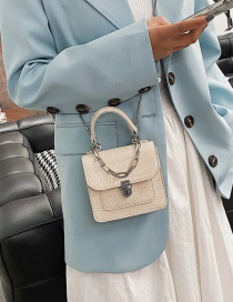 Fashion White Crocodile Chain Lock Stitching Shoulder Bag