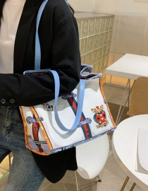Fashion White Canvas Printed Stitching Contrast Color Shoulder Crossbody Bag