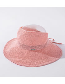 Fashion Pink Milk Silk Big Eaves Cover Face Sunscreen Top Hat